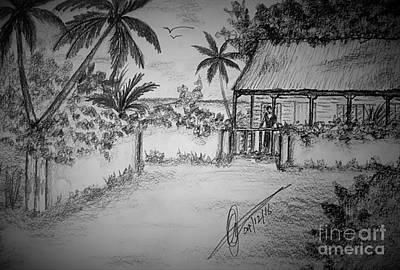Beach Landscape Drawing - Upper Street Village by Collin A Clarke