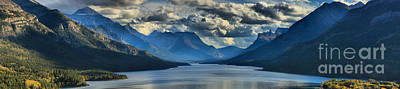 Photograph - Upper Waterton Lake Cloudy Panorama by Adam Jewell