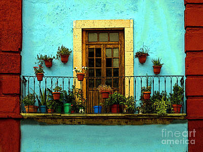 Upper Window In Turqoise Art Print by Mexicolors Art Photography
