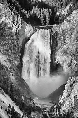 Photograph - Upper Yellowstone Falls In Black And White by James BO Insogna