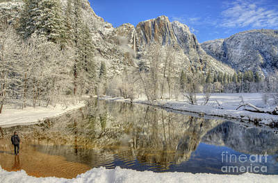 Photograph - Upper Yosemite Falls From Swinging Bridge Winter by Wayne Moran