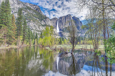 Art Print featuring the photograph Upper Yosemite Falls In Spring by Scott McGuire