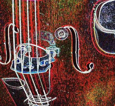 Upright Bass Digital Art - Upright Bass Close Up by Anita Burgermeister