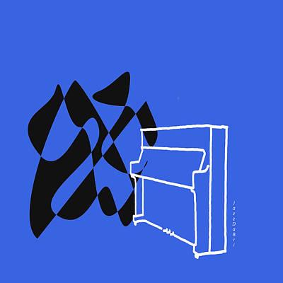 Digital Art - Upright Piano In Blue by David Bridburg