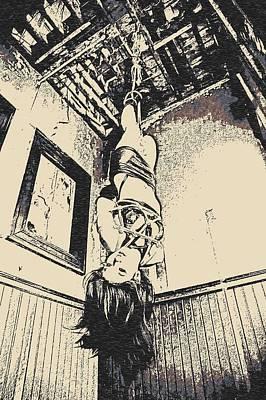Bdsm Drawing - Upside Down - Girl In Bondage by Casemiro