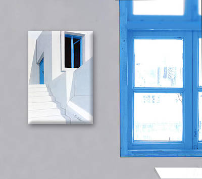 Painting - Upstairs In Mykonos-beveled Edges Gallery Frame-original Oil Painting by Mary Grden Fine Art Oil Painter Baywood Gallery