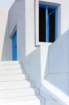Stairs Painting - Upstairs In Mykonos by Mary Grden's Baywood Gallery
