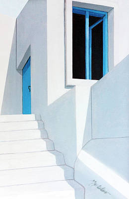 Upstairs In Mykonos-original Oil Painting By Mary Grden Art Print