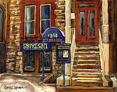 Montreal Winter Scenes Painting - Upstairs Jazz Bar And Grill Montreal by Carole Spandau