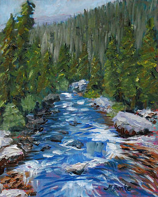 Fly Fishing Painting - Upstream Or Downstream by Mary Benke