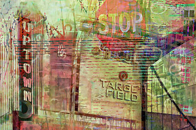Stop Sign Digital Art - Uptown And Target Field Collage by Susan Stone
