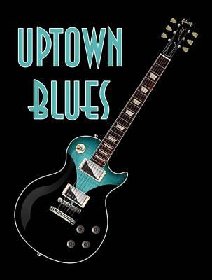 Digital Art - Uptown Blues T-shirt by WB Johnston