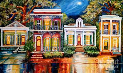 Creole Cottage Wall Art - Painting - Uptown In The Moonlight by Diane Millsap