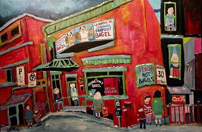 Painting - Uptown Ladies At The Bagel Factory Fairmount by Michael Litvack