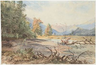 Upukerora River, 1866 , By Nicholas Chevalier Art Print by Celestial Images