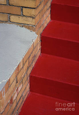 Photograph - urban abstract photography - Red Stairs by Sharon Hudson