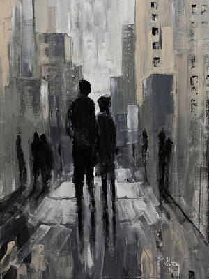 Painting - Urban Art Lovers Lane Modern Expressionist Painting by Gray Artus