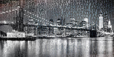 Pier 17 Digital Art - Urban-art Nyc Brooklyn Bridge IIi by Melanie Viola