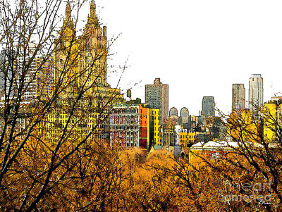 Urban Autumn In Nyc Art Print by Linda  Parker