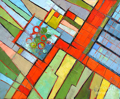 Rectangles Painting - Urban Composition - Abstract Zoning Plan by Mona Edulesco