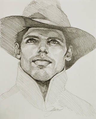 Drawing - Urban Cowboy Bw by Jani Freimann