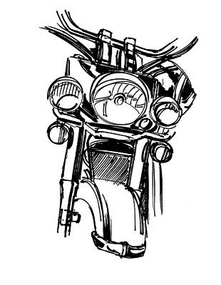 American Landmarks Drawing - Urban Drawing Motorcycle by Chad Glass