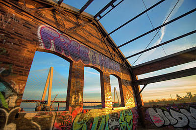 Photograph - Urban Graffiti Landscape - Stan Musial Veterans Memorial Bridge - St. Louis Missouri by Gregory Ballos
