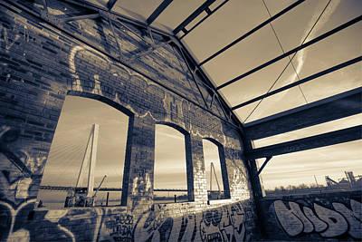 Photograph - Urban Graffiti Landscape - Stan Musial Veterans Memorial Bridge - St. Louis Missouri - Sepia by Gregory Ballos