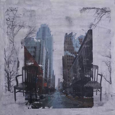 Empty Chairs Mixed Media - Urban Juxtaposition II by Terri Willits