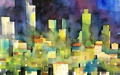 Painting - urban landscape 11 - le torri di San Gimignano by Alessandro Andreuccetti