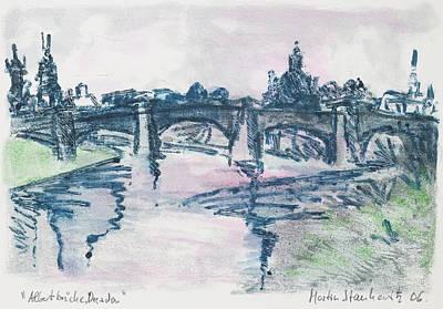 Painting - urban landscape Dresden,Albertbruecke by Martin Stankewitz