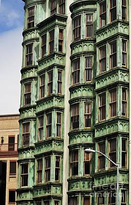 Urban Living In San Francisco - Old Green Apartment Building Original by Mark Hendrickson