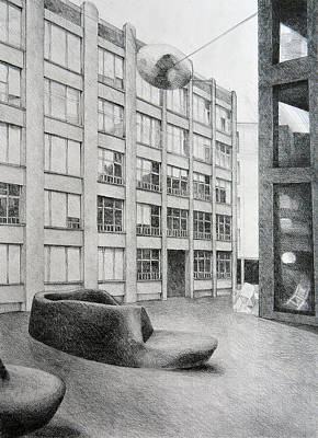 Window Bench Drawing - Urban Living Room, 2011, 50-70cm, Graphite Crayon On Paper by Oana Unciuleanu