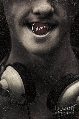 Stylized Beverage Photograph - Urban Man Wearing Headphones And Beer Cap In Mouth by Jorgo Photography - Wall Art Gallery
