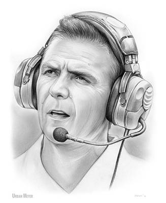 Football Drawing - Urban Meyer by Greg Joens