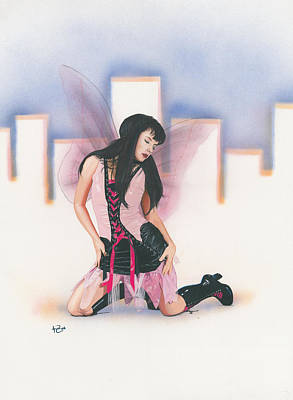 Sexy Fairy Painting - Urban Pixie by Kevin Clark