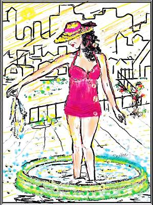 Digital Art - Urban Poolside by Desline Vitto
