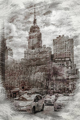 Empire State Building Digital Art - Urban Rush by Az Jackson