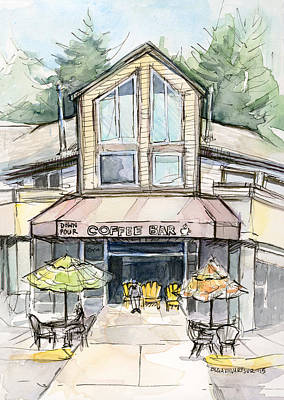 Seattle Painting - Coffee Shop Watercolor Sketch by Olga Shvartsur