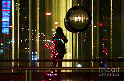 Photograph - Urban Street Holiday Lights And Photographer by Charline Xia