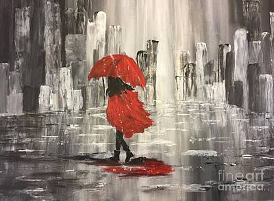 Painting - Urban Walk In The Rain by Lucia Grilletto