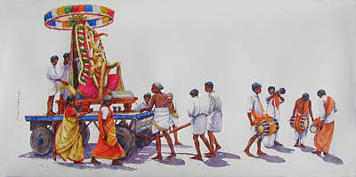 Tamilnadu Painting - Urchavam - Hindu God Procession. by Siva Balan