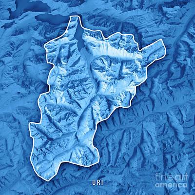 Uri Canton Switzerland 3d Render Topographic Map Blue Border Art Print by Frank Ramspott