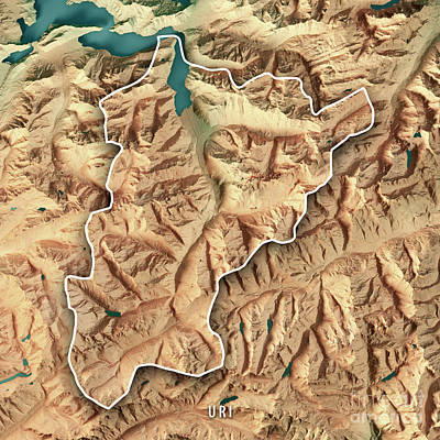 Uri Canton Switzerland 3d Render Topographic Map Border Art Print by Frank Ramspott