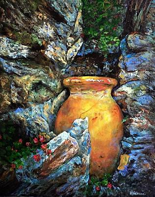 Earthenware Urn Painting - Urn Among The Rocks by Sue Henson