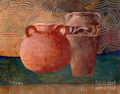 Painting - Urn Painting Collage by Patricia Cleasby