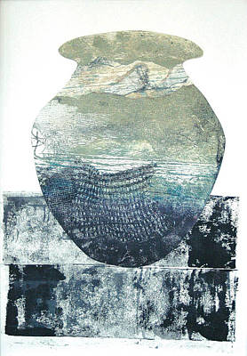 Printmaking Mixed Media - Urn Series Oceanic Vessel by Charles Mitchell