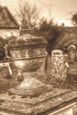 Photograph - Urn Vase In Old Cemetery Hdr Sepia Tone by Jacek Wojnarowski