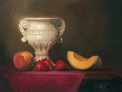 Art Print featuring the painting Urn With Fruit by Joe Winkler