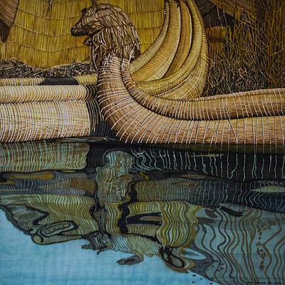 Painting - Uros Straw Boats And Island by Andre Salvador